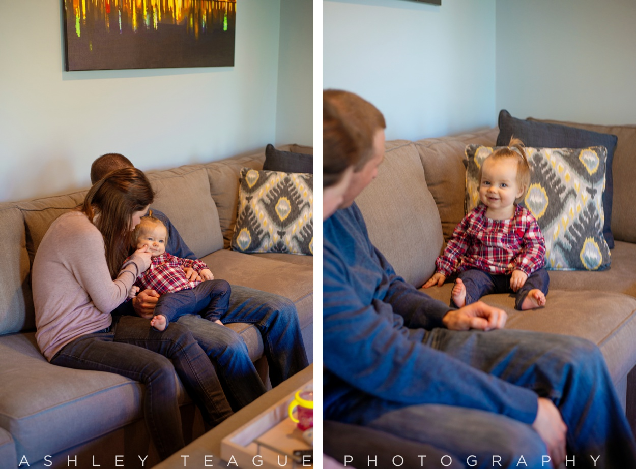 Happy Baby on Couch with Parents