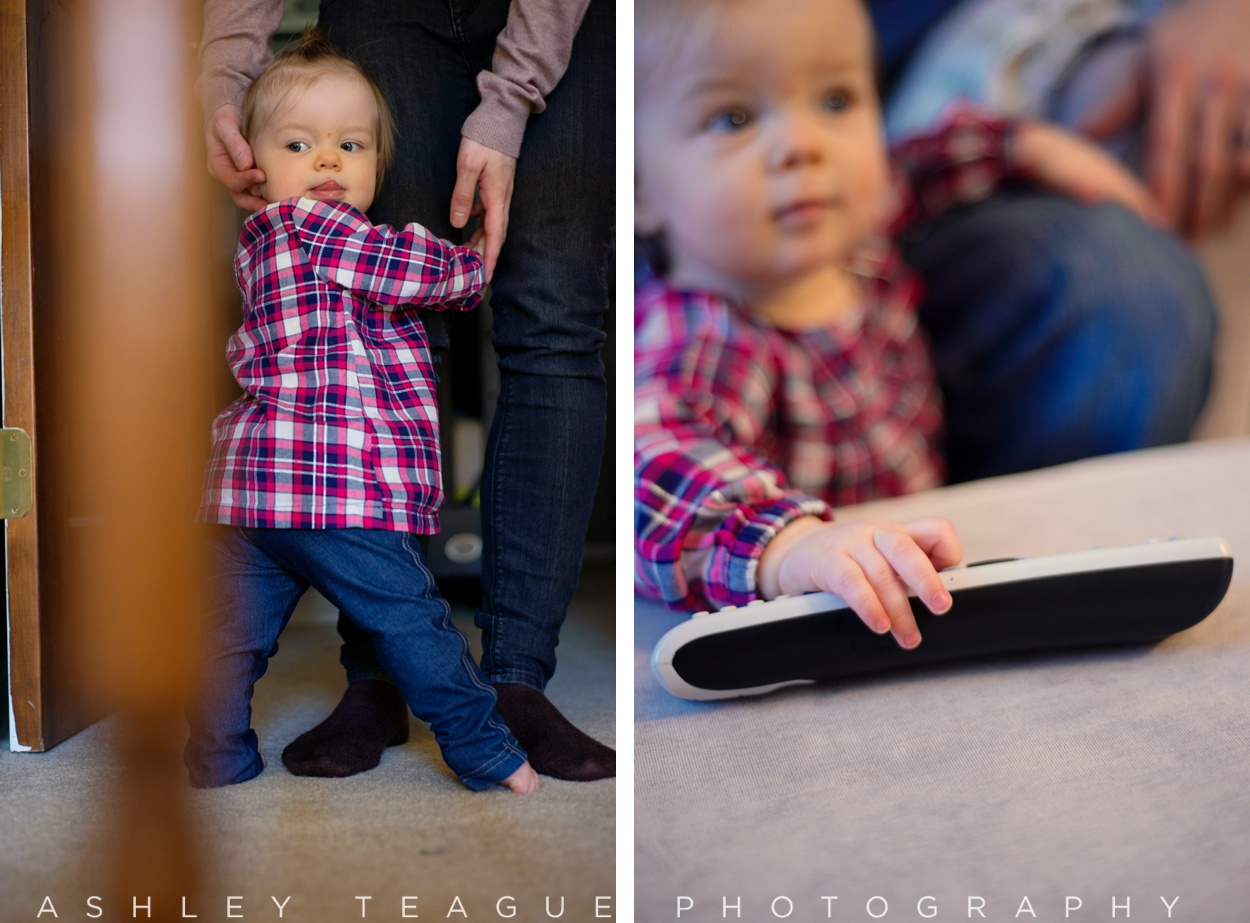One Year Old Girl with Remote